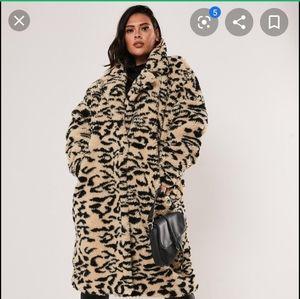 brown leopard print oversized teddy coat